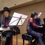 第3ステージでは、ピアノ伴奏を飯田さんと臼田先生の連弾、そして、パーカッションの渡部先生の演奏により、迫力が増します。